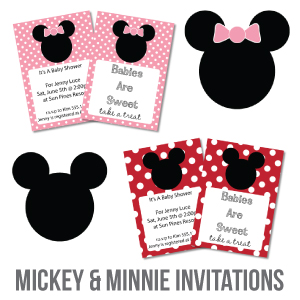 picture of FREE printable mickey mouse baby shower invitations