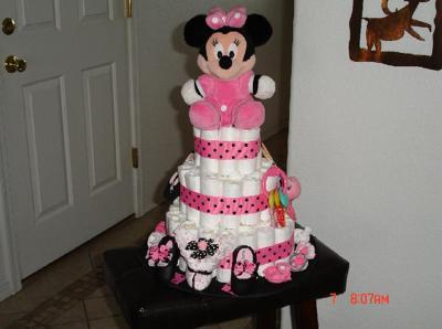 Mini Mouse 3 Tier Diaper Cake