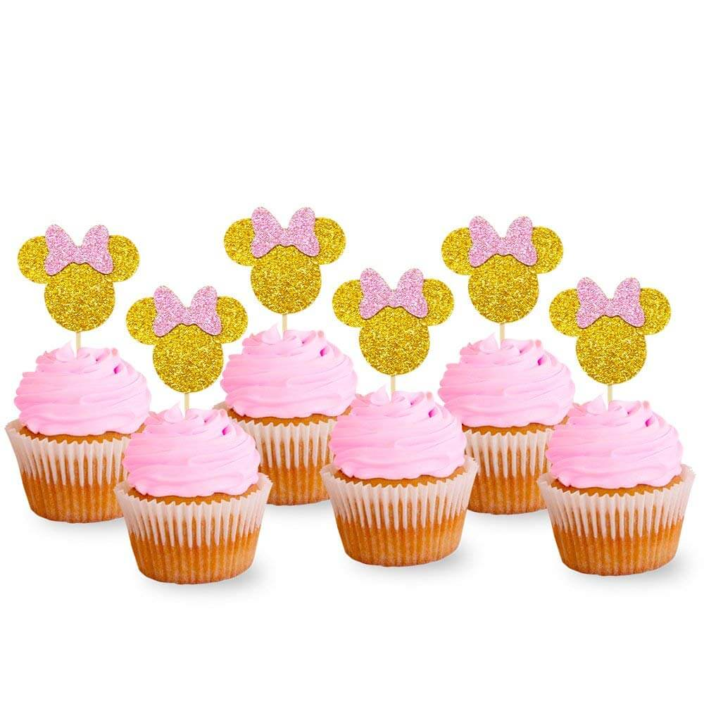 Minnie Mouse Cupcake Picks Pink And Gold Glitter
