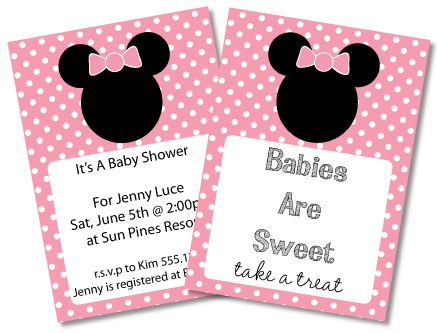 minniemousecardspic Customized Minnie Mouse Baby Shower Invitations