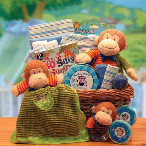 Monkey baby gift basket