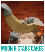moon and stars baby shower cakes banner