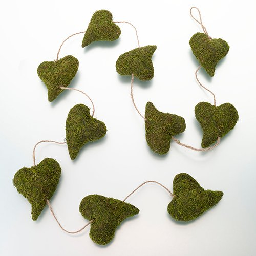 woodland rustic moss heart garland