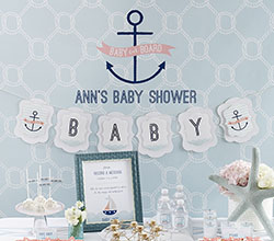 nautical girl baby shower banner