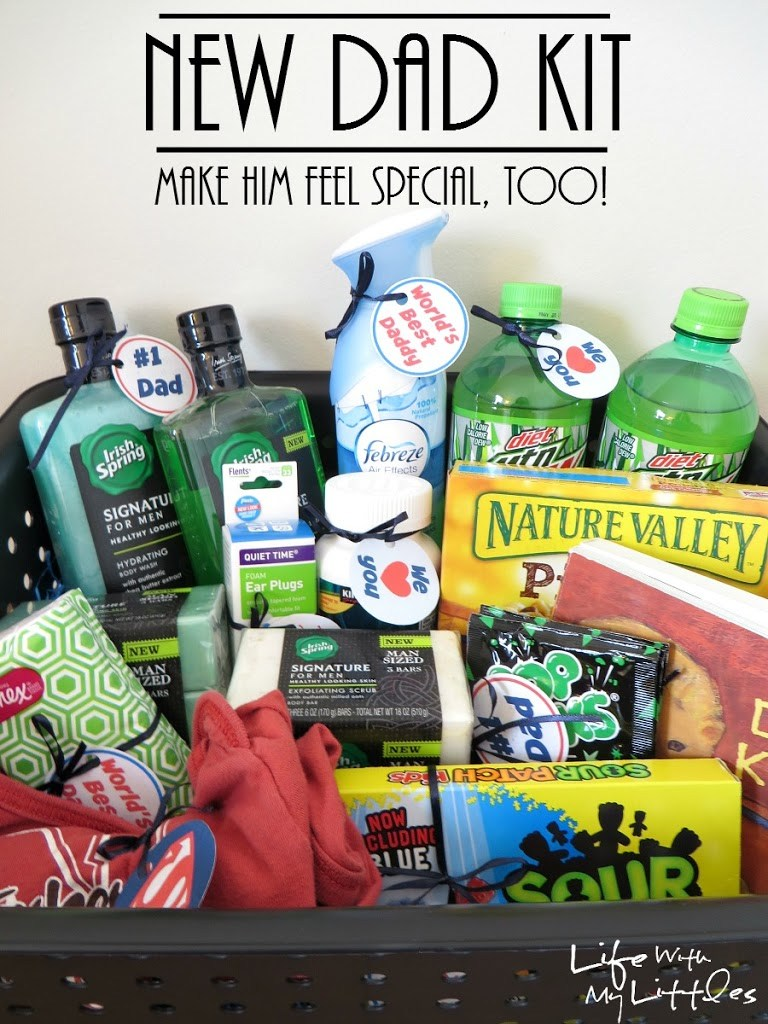 Baby shower gift for dad cool dad baby shower theme ideas too image of a new dad gift basket negle Gallery