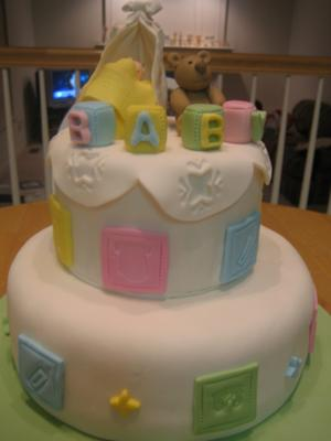 image of a nursery room baby blocks cake