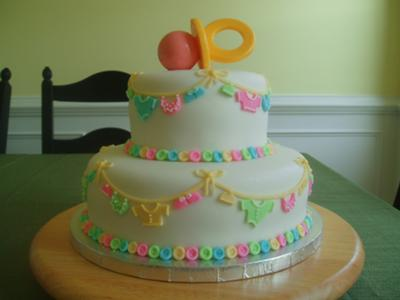 picture of 2-tier pacifier cake