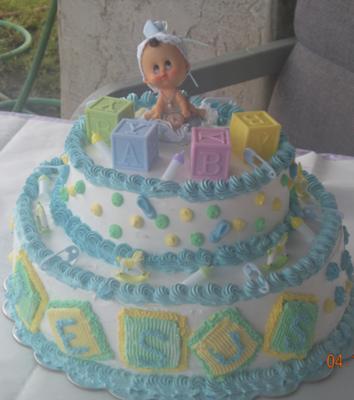 cute image of a pastel baby blocks cake