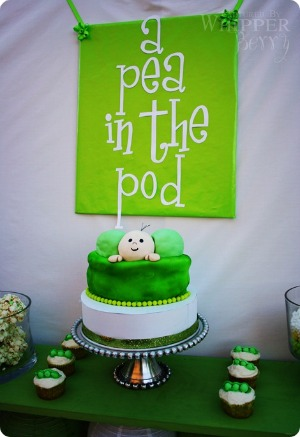 image of a pea in a pod baby shower cake