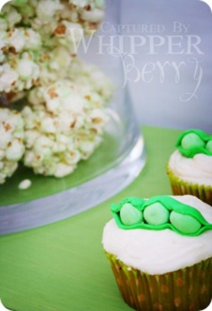 image of adorable pea in a pod baby shower cupcakes