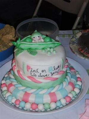 gender reveal pea pod cake