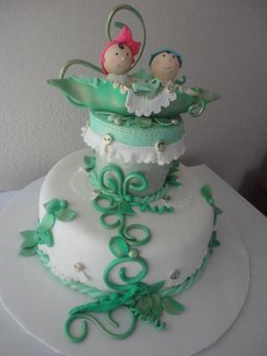 twin pea in a pod cake