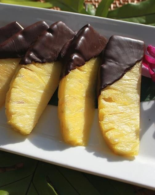 picture of dark chocolate dipped pineapple