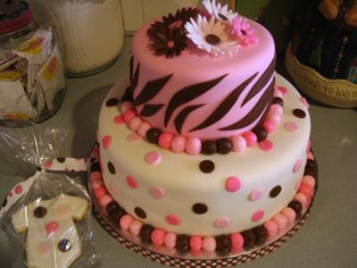 Pink & Brown Zebra Polka Dot Cake