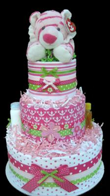 Pink Pop Tiger Blanket Diaper Cake