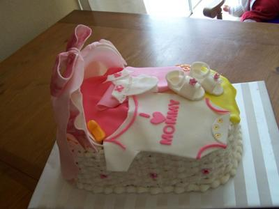 picture of a Pink Baby Onesie Bassinet Cake