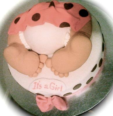 Picture of a pink baby bottom cake