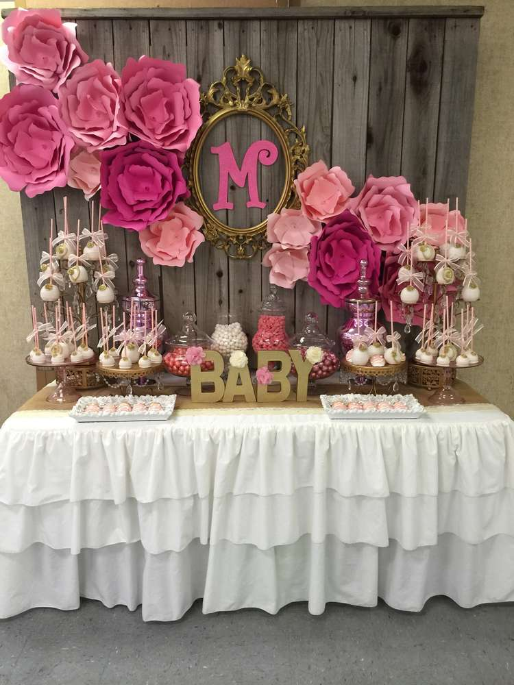 Image Of Pink Baby Shower Table Decorations