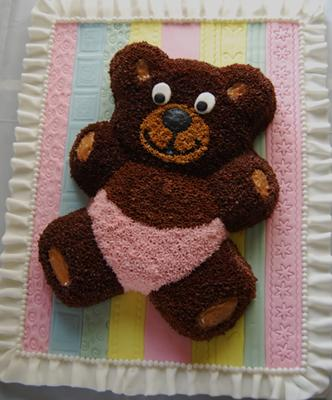 Pink And Brown Baby Bear Cake