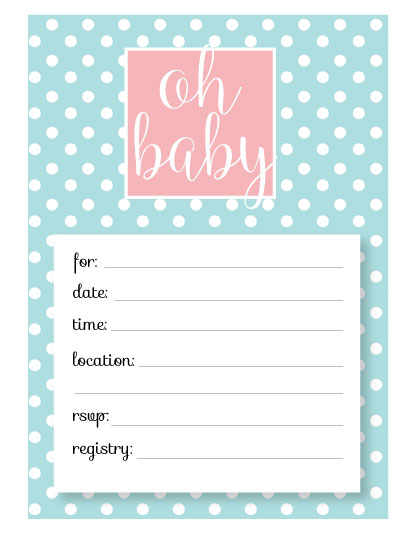 free blue and pink polka dot printable baby shower invitations