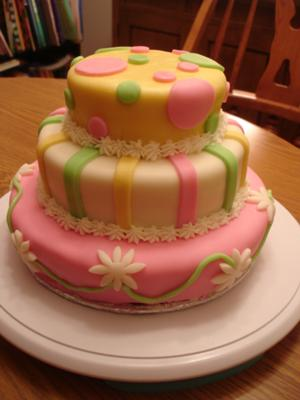Picture of a cute yellow and pink polka dot daisy baby shower cake