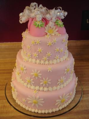 picture of pink daisy baby shower cake
