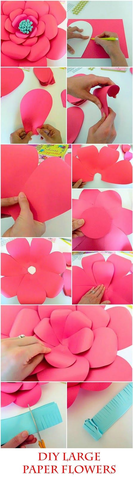 Image of pink DIY paper flowers for a baby shower