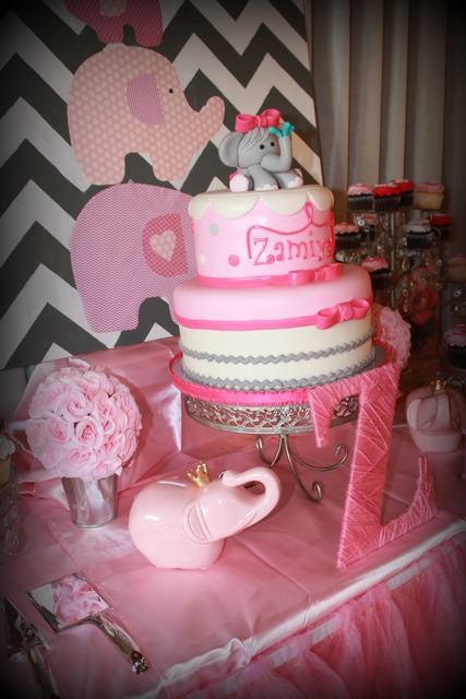 picture of a pink elephant baby shower cake