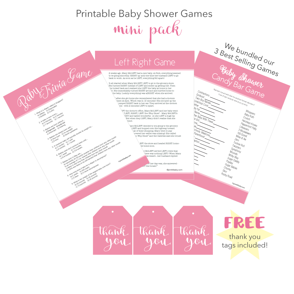 girl pink baby shower games banner