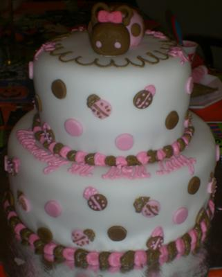 picture of a pink and brown ladybug cake