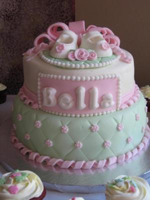 image of 2 tier pink and mint baby shoe cake