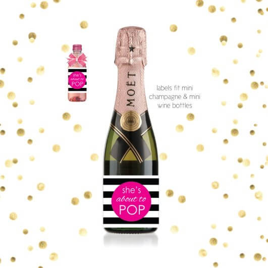 image of She's About To Pop mini champagne bottle labels