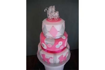 Pink 3 tier stroller cake picture