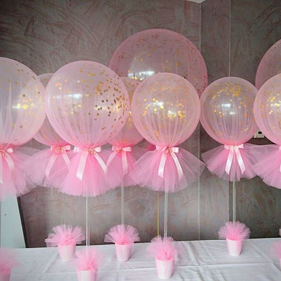 image of pink tulle balloons