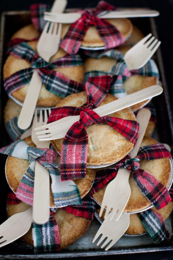 mini plaid ribbon baby shower pies picture