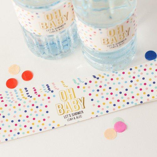 image of polka dot water bottle labels
