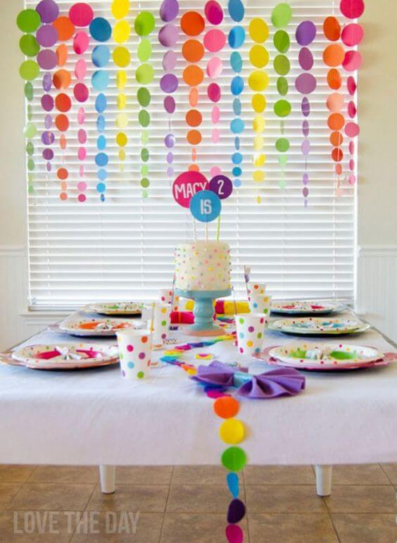 polka dot garland for a baby shower or party