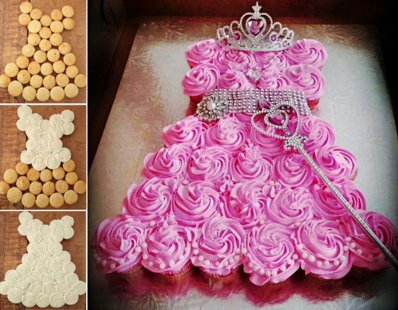 banner of princess baby shower pull apart cake