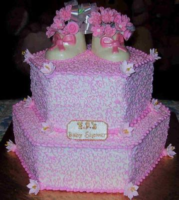 Image Of Purple Baby Shoe Cake With Baby Booties