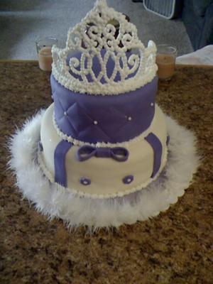 Purple princess tiara baby shower cake picture