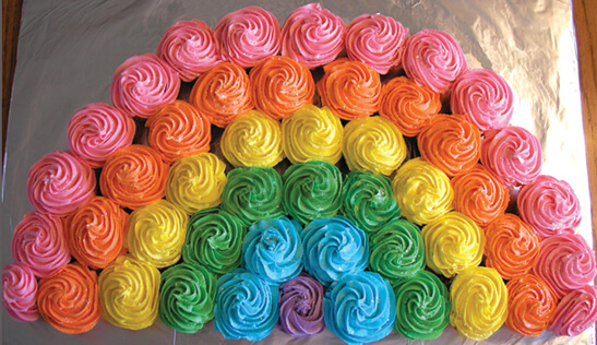 colorful rainbow cupcakes banner