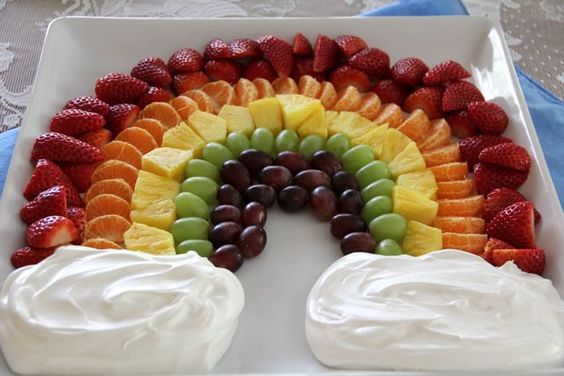 picture of a rainbow fruit platter with whipped cream