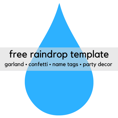 Free printable raindrop template clipart. Use for ceiling hangers, banners, garland, confetti!