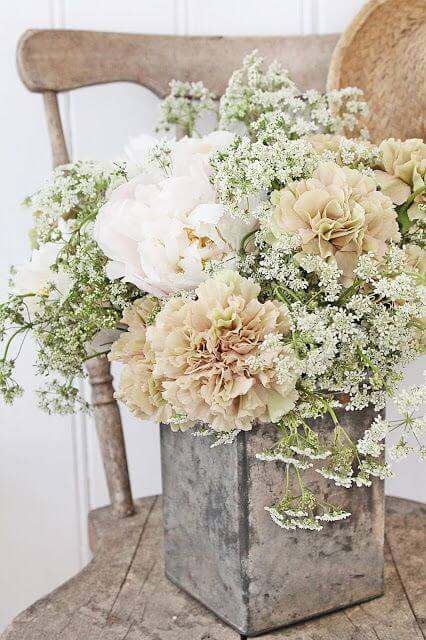 image of rustic baby shower flower arrangement
