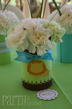 image of a centerpiece for a safari baby shower