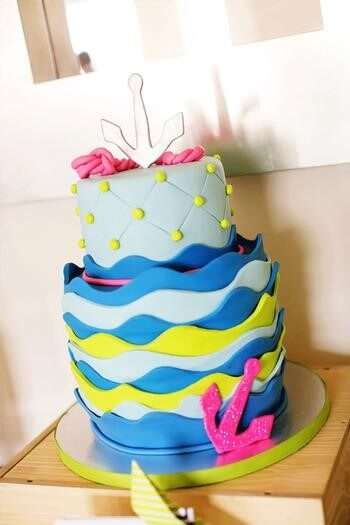 image of a beautiful sailboat baby shower cake