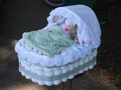 Baby Diaper Cake Directions on Shabby Chic Bassinet Diaper Cake