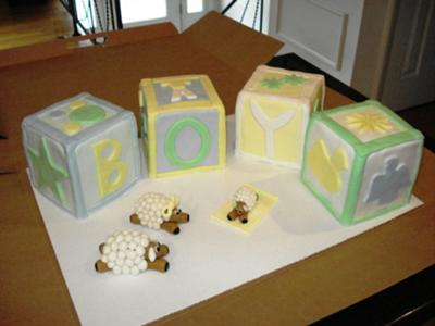 image of cute sheep and baby blocks cake