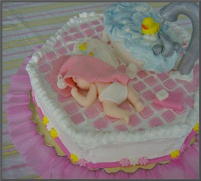 picture of a sleeping baby cake for a baby girl
