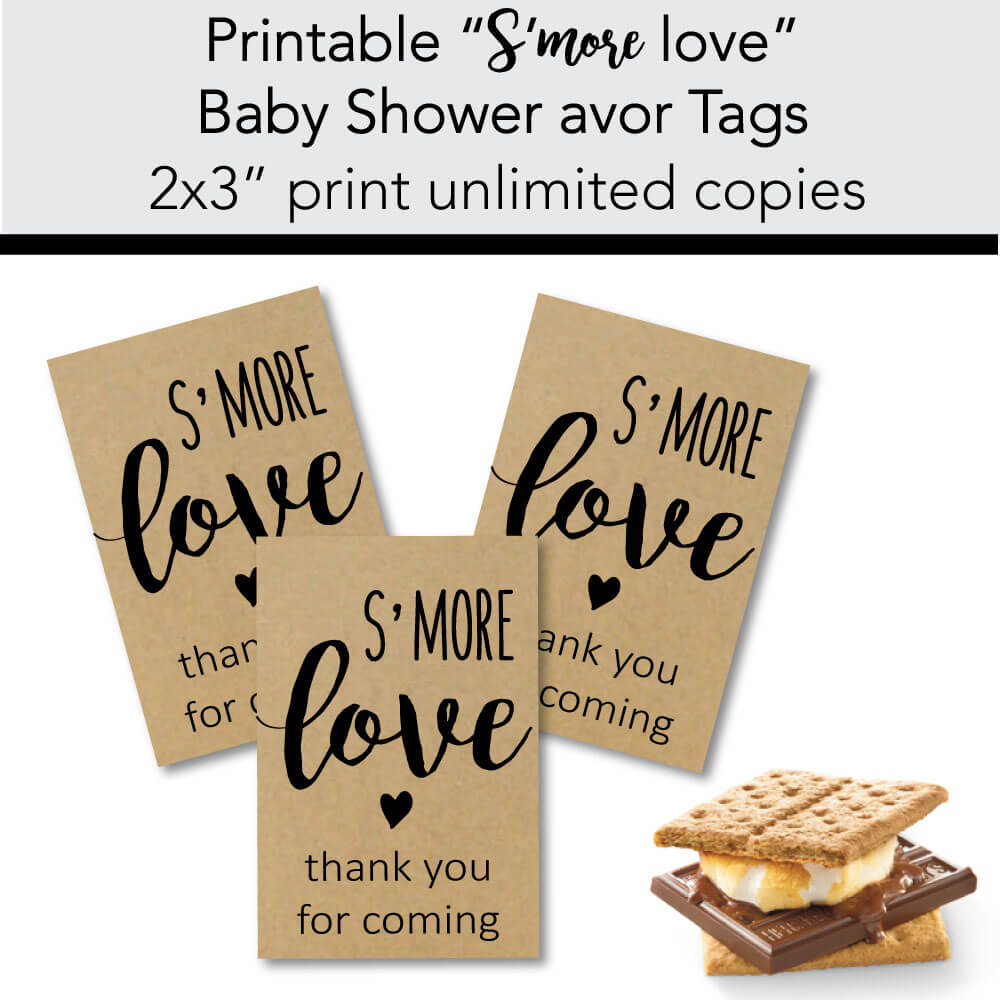 banner of printable s'mores baby shower favor tags